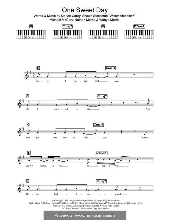 One Sweet Day (Mariah Carey and Boyz II Men): melodia by Mariah Carey, Michael McCary, Nathan Morris, Shawn Stockman, Walter Afanasieff, Wanya Morris