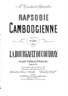 Rapsodie Cambodgienne. Arrangement for Piano Four Hands: Rapsodie Cambodgienne. Arrangement for Piano Four Hands by Louis Albert Bourgault-Ducoudray