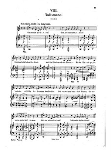 No.8 Talismane (Talismans): gravação piano-vocal (texto alemão) by Robert Schumann