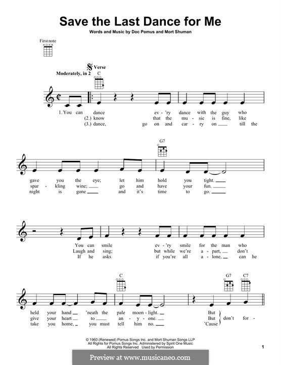 Save the Last Dance for Me (The Drifters): para ukulele by Doc Pomus, Mort Shuman