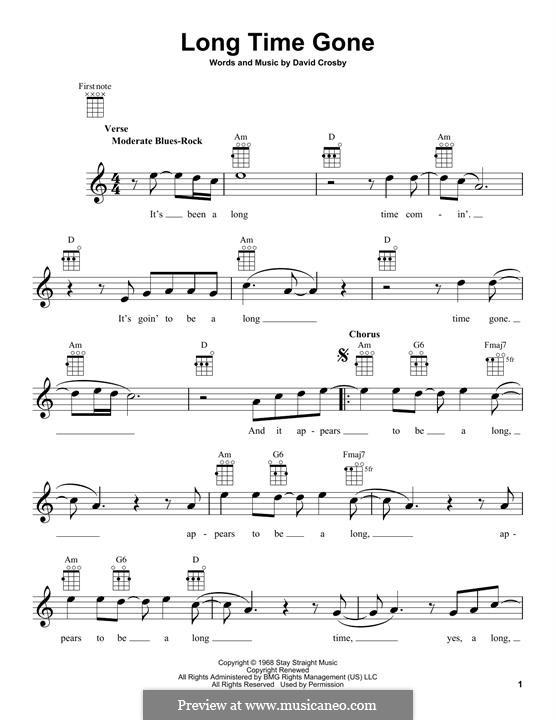 Long Time Gone (Crosby, Stills & Nash): para ukulele by David Crosby