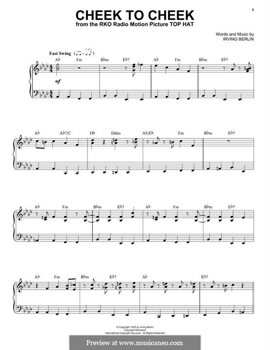Cheek to Cheek: Para vocais e piano by Irving Berlin