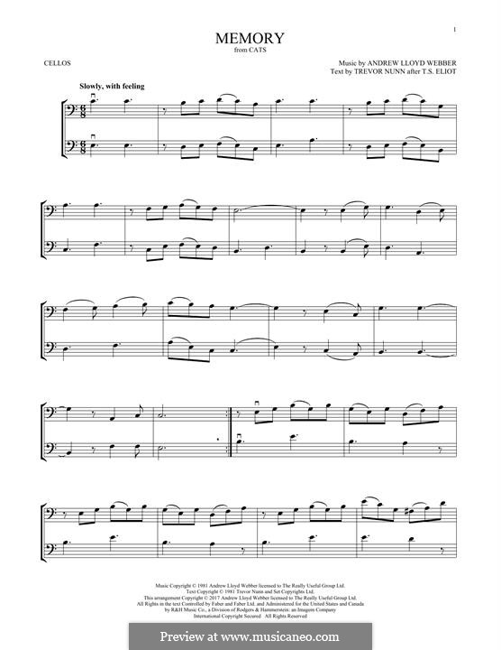 Memory (from Cats): para dois violoncelo by Andrew Lloyd Webber