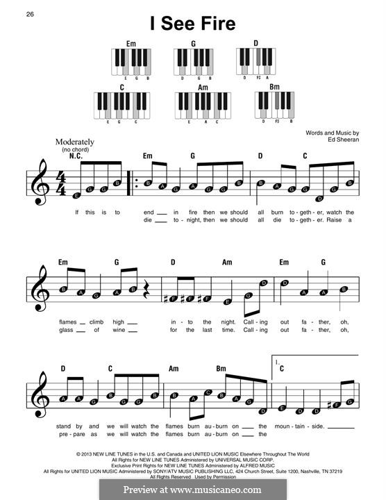 I See Fire (from The Hobbit): Para Piano by Ed Sheeran