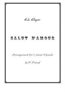 Salut d'amour (Love's Greeting), Op.12: For piano four hands – score and parts by Edward Elgar