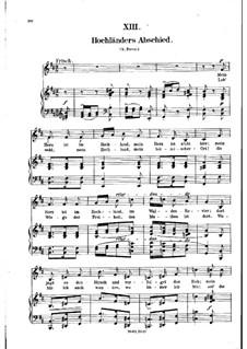 No.13 Hochländers Abschied (My Heart's in the Highlands): gravação piano-vocal (texto alemão) by Robert Schumann