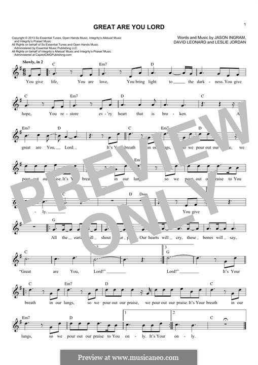 Great are You Lord: melodia by Jason David Ingram, Leslie Jordan, David Leonard
