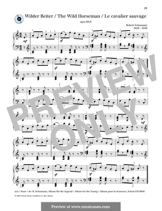 No.8 Wilder Reiter (The Wild Horseman): Para Piano by Robert Schumann