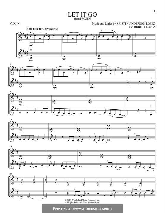 Let It Go (from Frozen): para violino by Robert Lopez, Kristen Anderson-Lopez