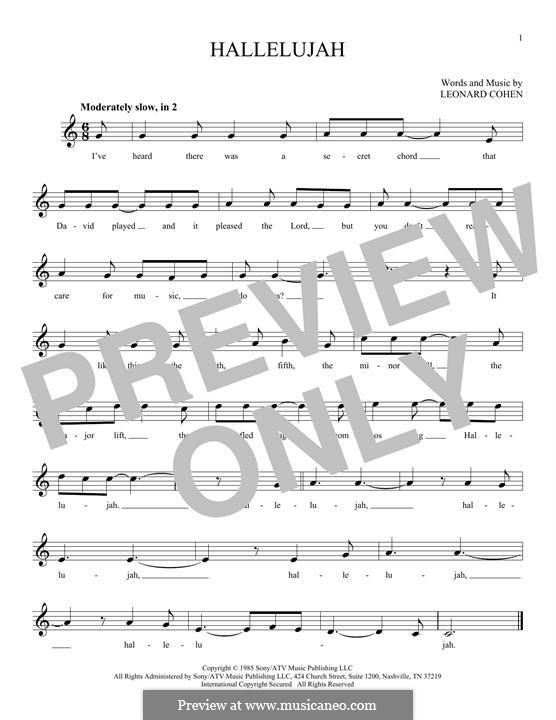 Hallelujah: melodia by Leonard Cohen