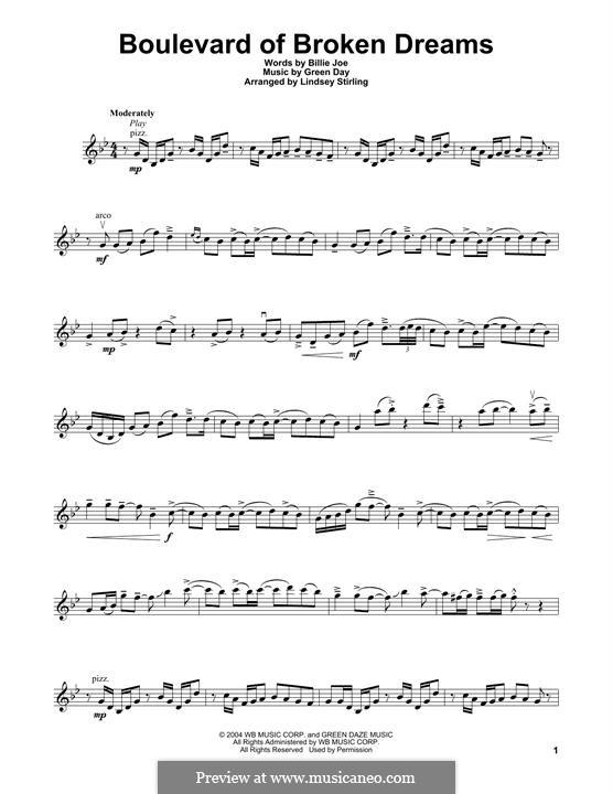 Boulevard of Broken Dreams (Green Day): para violino by Billie Joe Armstrong, Tré Cool, Michael Pritchard