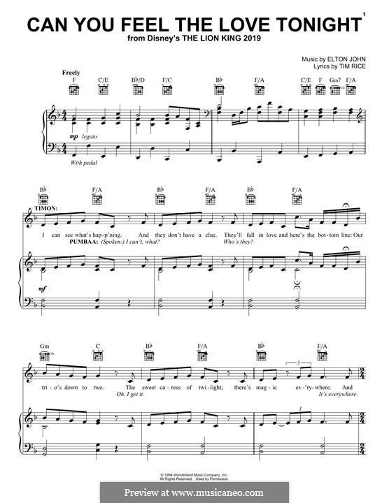 Can You Feel the Love Tonight (from The Lion King): Para vocais e piano (ou Guitarra) by Elton John