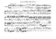 Quartet No.1 in F Major: arranjos para pianos de quatro mãos - partes by Ludwig van Beethoven