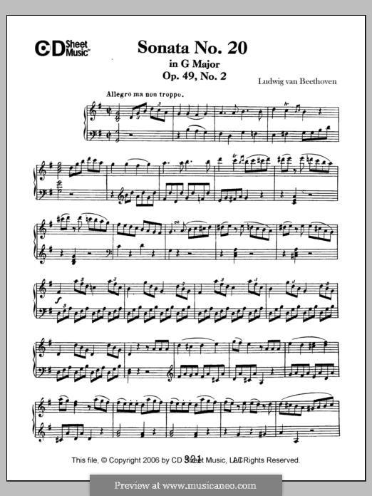 Sonata for Piano No.20, Op.49 No.2: para um único musico (Editado por H. Bulow) by Ludwig van Beethoven