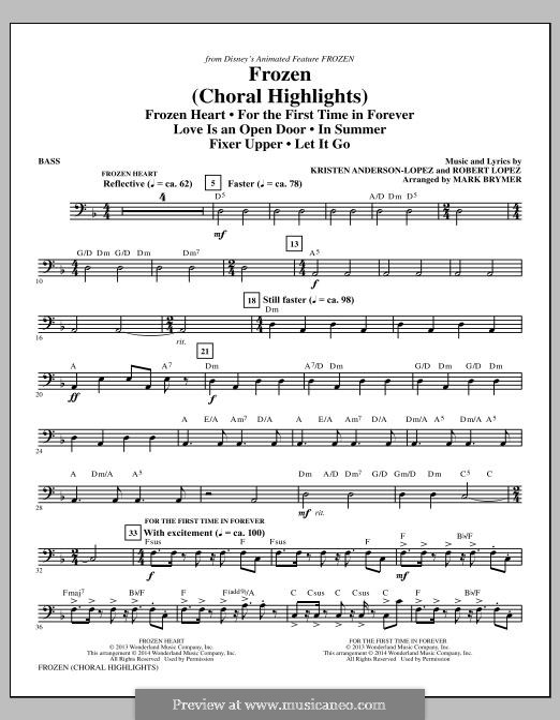 Frozen (Choral Highlights): parte baixo by Robert Lopez, Kristen Anderson-Lopez