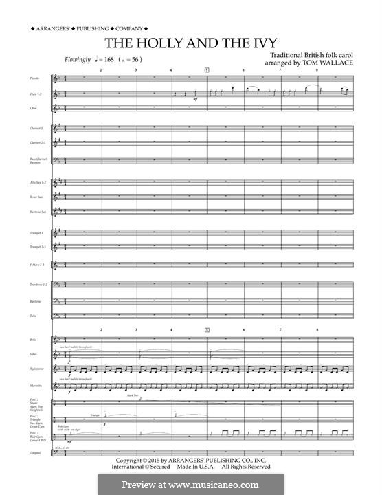 The Holly and the Ivy: Conductor score (full score) arr. Tom Wallace by folklore