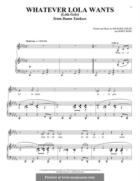 Whatever Lola Wants (Lola Gets): Para vocais e piano by Jerry Ross, Richard Adler