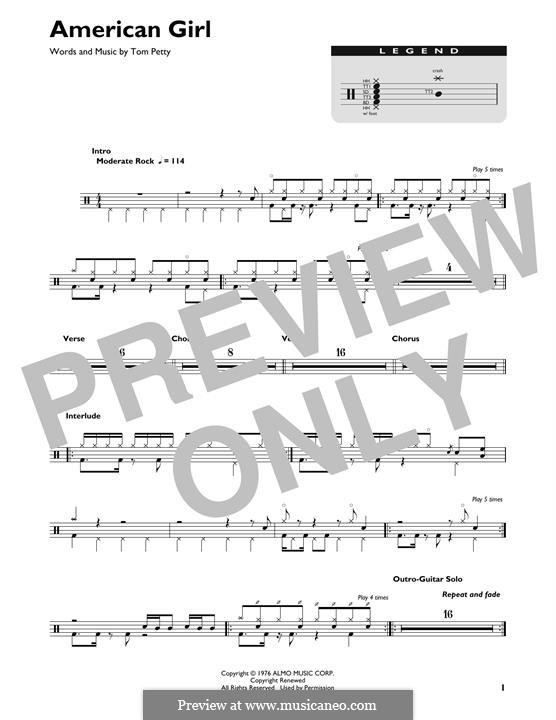 American Girl: Drum set by Tom Petty