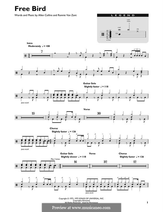 Free Bird (Lynyrd Skynyrd): Drum set by Allen Collins, Ronnie Van Zant