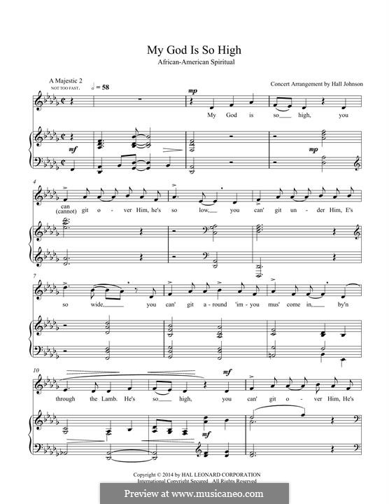 My God Is So High: For voice and piano (D-flat) by folklore