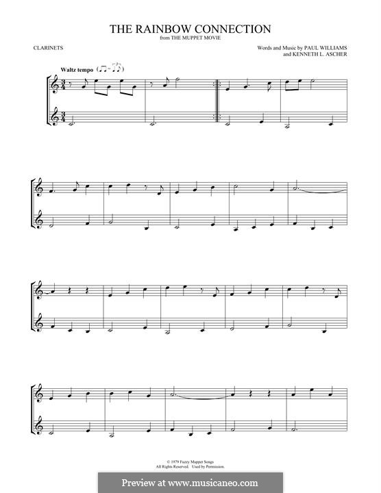 The Rainbow Connection (Kermit the Frog): para duas clarinetas by Paul H. Williams, Kenneth L. Ascher