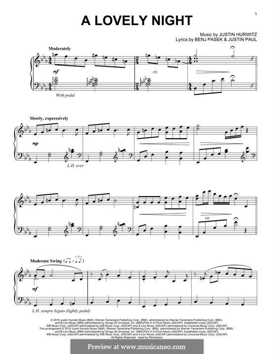 A Lovely Night (from La La Land): Para Piano by Justin Hurwitz