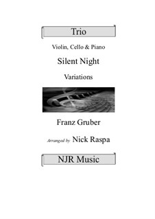 Silent Night (Downloadable): For violin, cello and piano by Franz Xaver Gruber