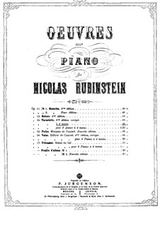 Tarantella, Op.14: para piano de quadro mãos by Nikolai Grigoryevich Rubinstein