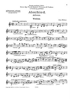 Adieux for Violin, Cello and Harp: parte do violino by Otto Weber
