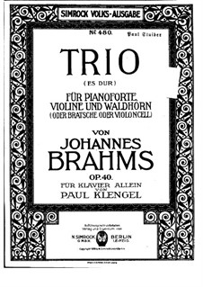 Trio for French Horn (or Cello), Violin and Piano, Op.40: versão para piano by Johannes Brahms
