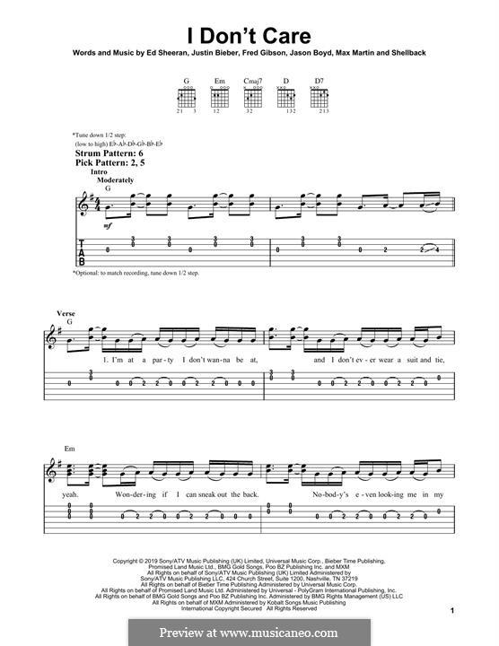 I Don't Care (Ed Sheeran & Justin Bieber): Para Guitarra by Ed Sheeran, Jason Boyd, Justin Bieber, Max Martin, Fred Gibson