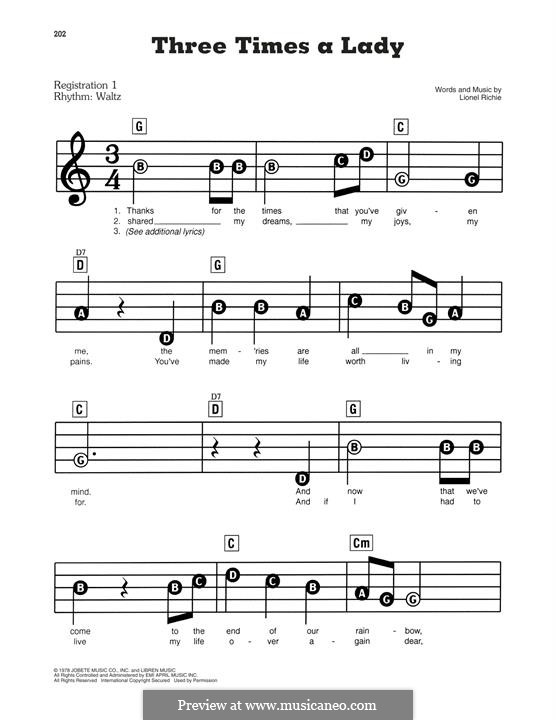 Three Times a Lady: Facil para o piano by Lionel Richie