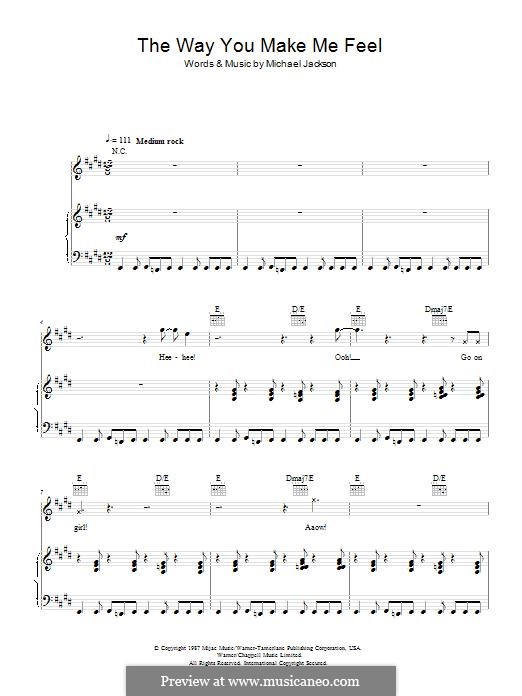 The Way You Make Me Feel: Para vocais e piano (ou Guitarra) by Michael Jackson