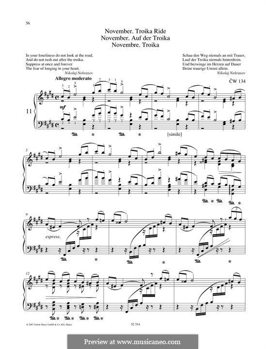 No.11 November (On the Troika): Para Piano by Pyotr Tchaikovsky