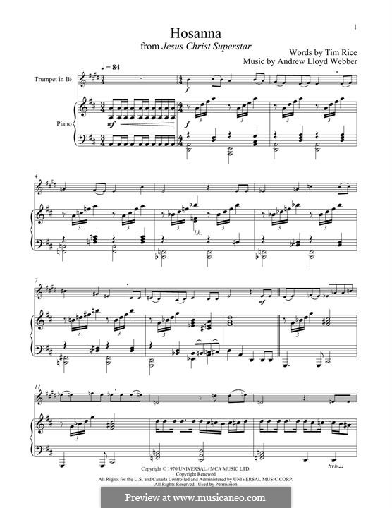 Hosanna (from Jesus Christ Superstar): para trompeta e piano by Andrew Lloyd Webber