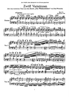 Twelve Variations on Russian Dance from 'Das Waldmädchen' by P. Wranitzky, WoO 71: para piano (com dedilhado) by Ludwig van Beethoven