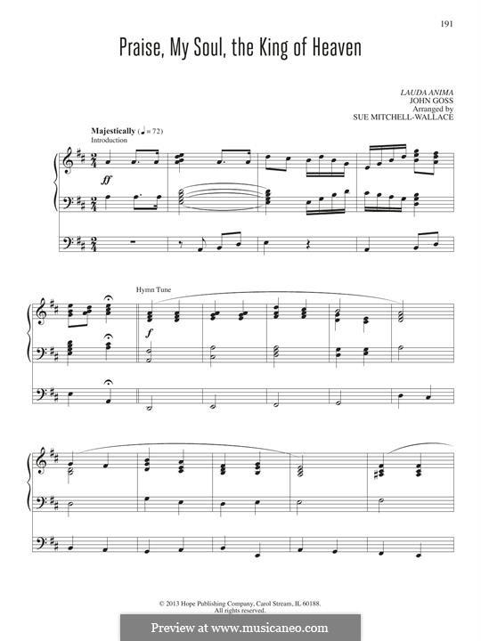 Praise, My Soul, the King of Heaven: para orgãos by John Goss