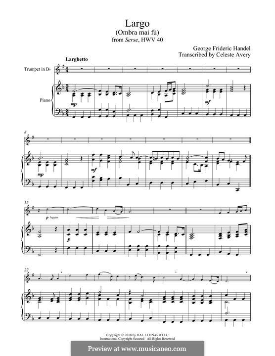 Ombra mai fu: para trompeta e piano by Georg Friedrich Händel