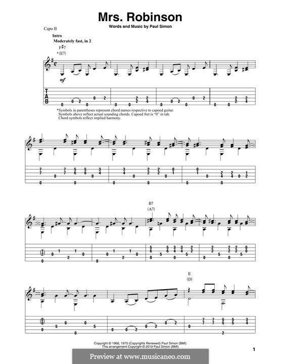 Mrs. Robinson (Simon & Garfunkel): Para Guitarra by Paul Simon