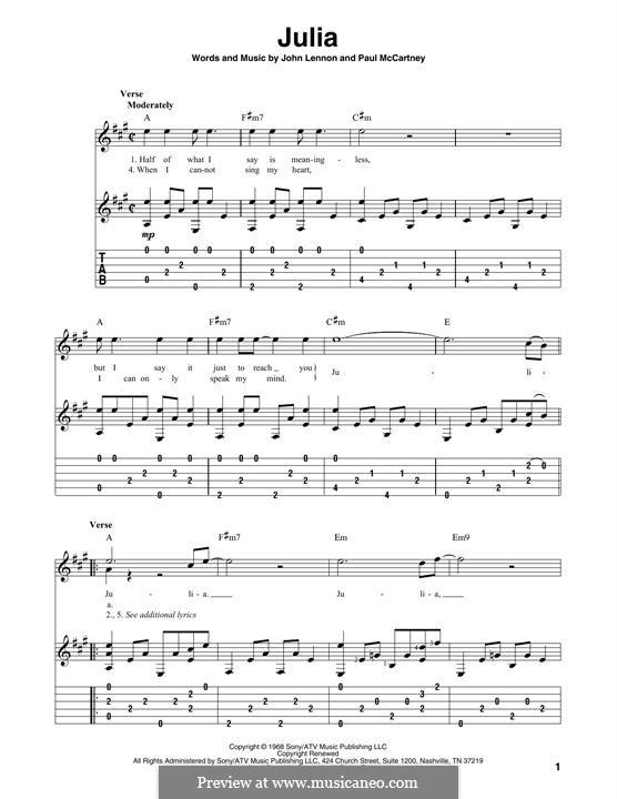 Julia (The Beatles): Para Guitarra by John Lennon, Paul McCartney