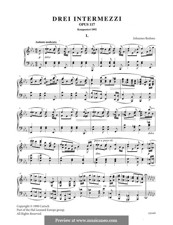 Three Intermezzos, Op.117: Intermezzo No.1 by Johannes Brahms