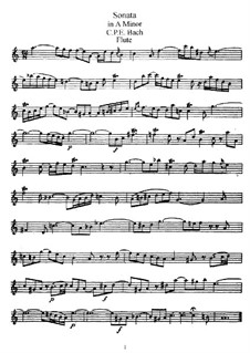 Sonata for Flute and Harpsichord in A Minor, H 555 Wq 128: parte Solo by Carl Philipp Emanuel Bach