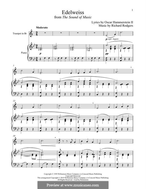 Edelweiss (from The Sound of Music): para trompeta e piano by Richard Rodgers