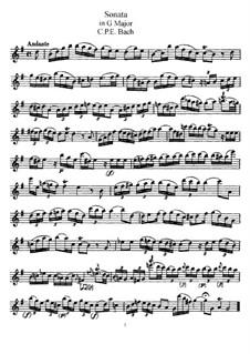 Sonata for Flute and Harpsichord in G Major, H 550 Wq 123: parte Solo by Carl Philipp Emanuel Bach