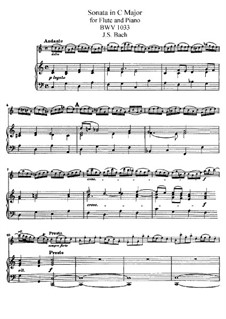Sonata for Flute and Basso Continuo No.1 in C Major, BWV 1033: Arranjo para flauta e piano by Johann Sebastian Bach