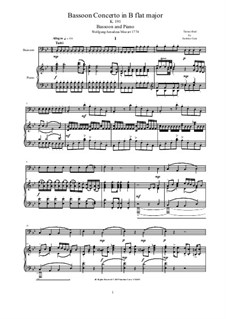 Concerto for Bassoon and Orchestra in B Flat Major, K.191: Version for bassoon and piano - score and solo part by Wolfgang Amadeus Mozart