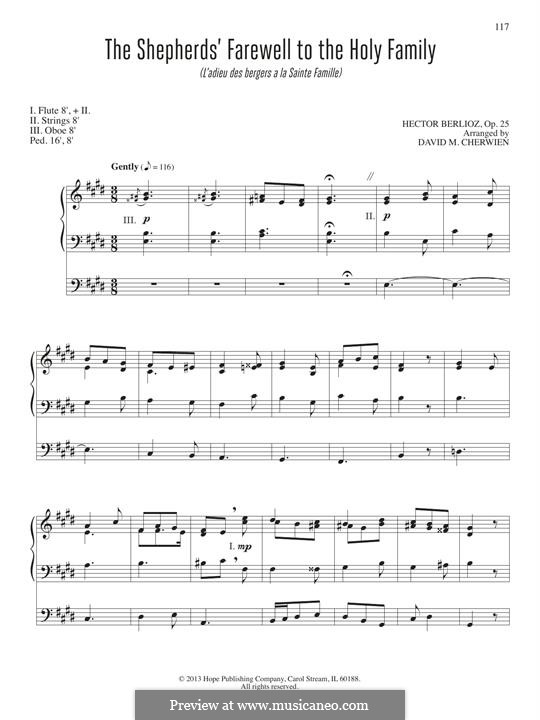 L'enfance du Christ (The Childhood of Christ), H.130 Op.25: The Shepherd's Farewell, for organ by Hector Berlioz