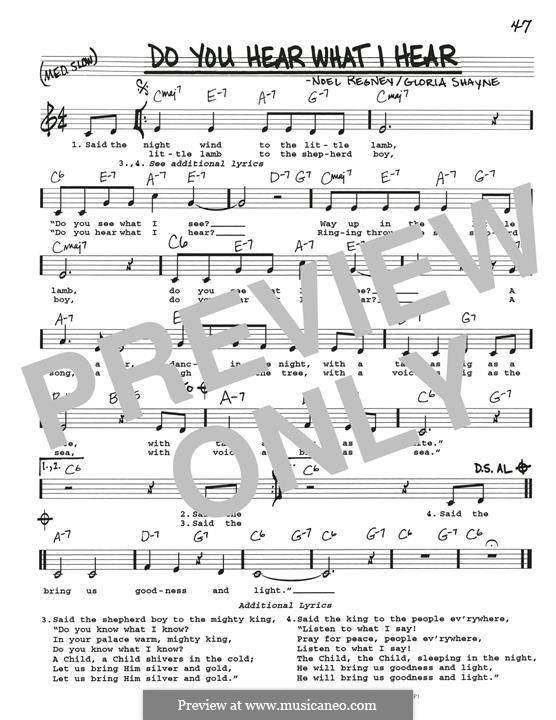 Do You Hear What I Hear: melodia by Gloria Shayne, Noël Regney