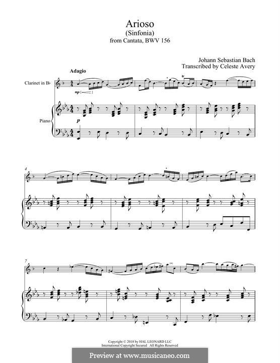 Arioso in G Major: para clarinete e piano by Johann Sebastian Bach