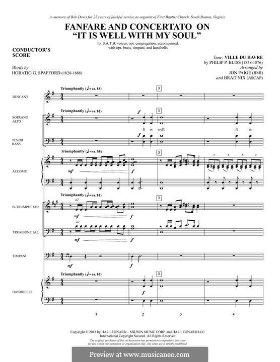 Fanfare and Concertato on 'It Is Well with My Soul': partitura completa by Philip Paul Bliss